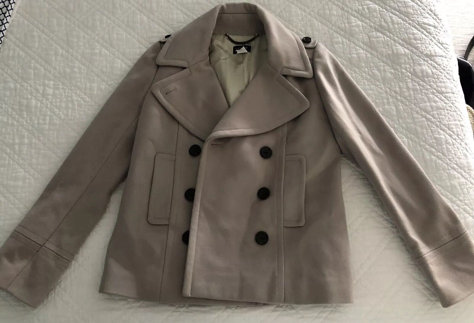 J.CREW Tan Beige Wool Peacoat Stadium Cloth by Nello Gori Coat Women's Size 2