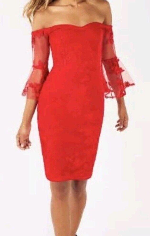 New Lipsy Lace Red Bardot Dress Sz