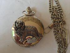 D7 Cav. King Charles  polished silver case mens GIFT quartz pocket watch fob