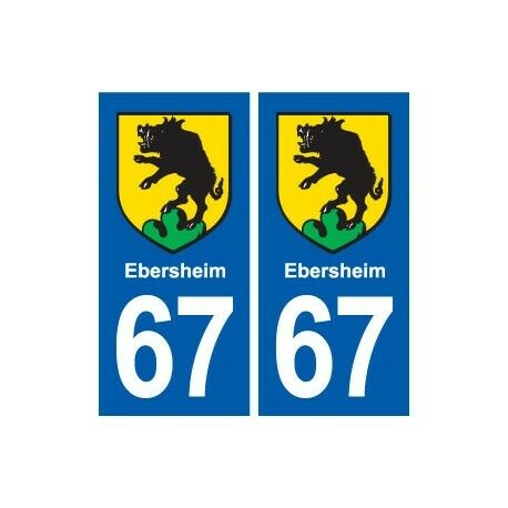 67 Ebersheim blason autocollant plaque stickers ville droits