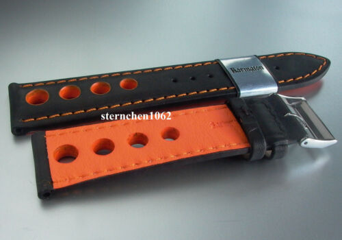 Lederband Uhren Barington Uhrenarmband Racing schwarz orange 18-22 mm