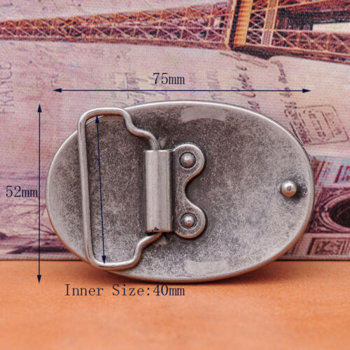 Antique Silver Western Oval Artistic Floral Leather Belt Buckle For 40mm Strap