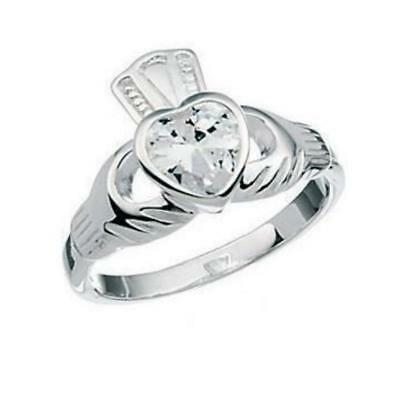 Sterling Silver 925 CZ Heart Claddagh Ring RRP $35.00