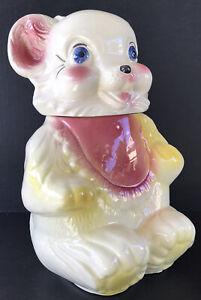 "Vintage Cookie Jar Teddy Bear 1940's Royal Ware Pottery USA Cookie Jar 11"""
