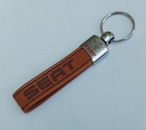 SEAT BROWN Eco Leather Keyring Pendant Keychain Keyfobs.