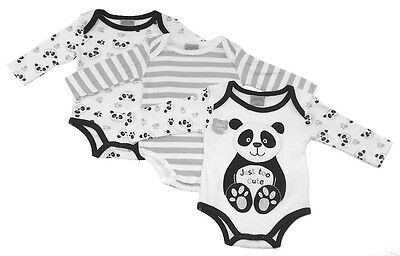 3 pack Baby Long Sleeved Cotton Bodysuits Panda Design by Just Too Cute AW 17