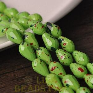 New-15pcs-12X8mm-Teardrop-Faceted-Dots-Loose-Glass-Spacer-Beads-Green