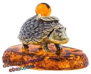 Bronze Solid Brass Baltic Amber Home Figurine Cat Reader Statuette