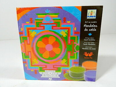 Djeco - Mandalas De Sable - Set 5 Colored Sand Art By Numbers - Tibetan Mandalas