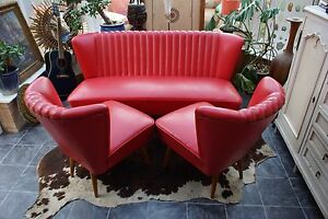 Image Is Loading Vintage German Tail Chairs And Sofa In Red