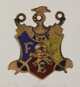 Knights-Of-Pythias-Vintage-k-de-Rosa-Fcb-Dije-Medalla-Escudo-Crest-Esmalte