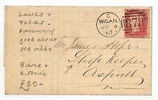 AK74 1862 GB Wigan Lancs & Yorks Ferrocarril escaso cubierta histórico