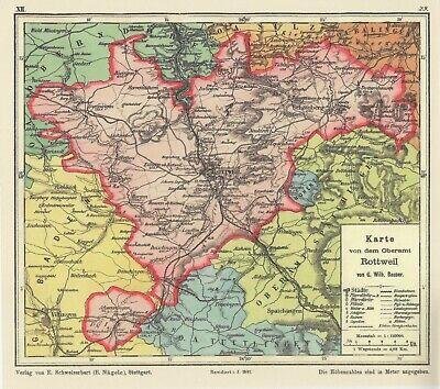 Oberamt Rottweil Bauser Hand-Atlas REPRINT der KARTE von 1885 Schömberg Neufra