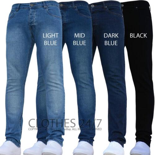 Nuevo Para Hombre Enzo Azul diseñador Skinny Slim Elástica pantalones vaqueros de cintura y tamaños Bari