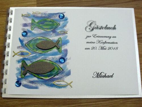 Glitzersteine Gästebuch A5 blau Fische Konfirmation Kommunion Taufe grün