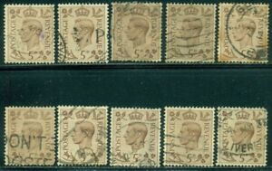 GREAT BRITAIN SG-469, SCOTT # 242, USED, 10 STAMPS, GREAT PRICE!