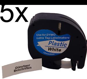 5 komp 91221 Ersatzrollen für Dymo LetraTag XR QX50 12mm schwarz weiß 5p