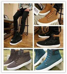 new fashion mens casual tennis high top canvas shoes