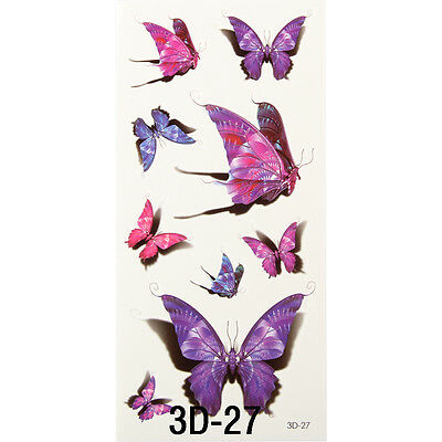 Waterproof Temporary Tattoos 3D Butterfly Flower Halloween Fake Tattoos Sticker