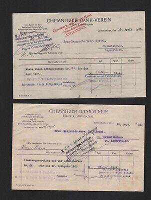 Chemnitzer Bank-verein Hitze Und Durst Lindern. Crimmitschau 2 X Rechnung 1922/23