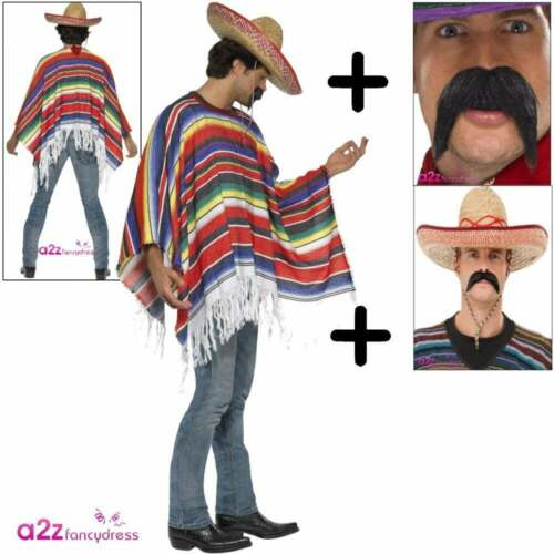 TASH Bandit Adult Western Fancy Dress Outfit SOMBRERO Mexican Poncho COSTUME