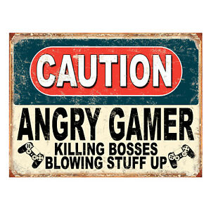 Caution Angry Gamer Killing Bosses, funny retro metal sign novelty Gift