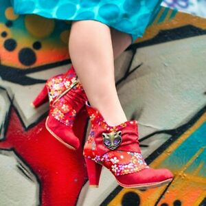 New-Irregular-Choice-Miaow-Red-Cat-Ankle-Boots-9-10-USA-40-41-EU