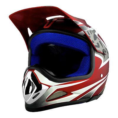 Off-Road Full Face Mountain Bike Helmet DOT Full Face MTB Helmet Red