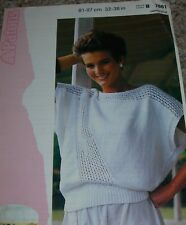 d87b760cb25e item 1 Vintage Patons Knitting Pattern Lady s Wide Top with Diagonal Mesh  Panel B7861 -Vintage Patons Knitting Pattern Lady s Wide Top with Diagonal  Mesh ...