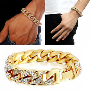 18K-Gold-Plated-Diamond-Cuban-Chain-Link-Cool-Fashion-Men-Bracelet-Jewelry-Gifts