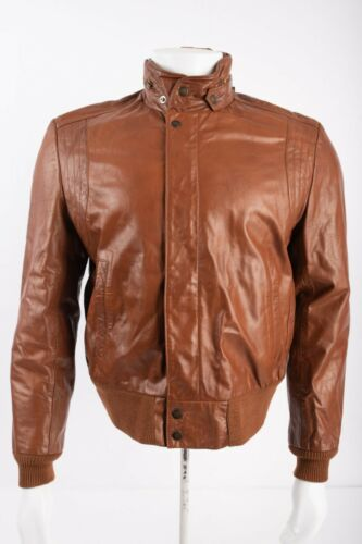 Vintage 70s Silton Mens Leather Racer Bomber Jacke