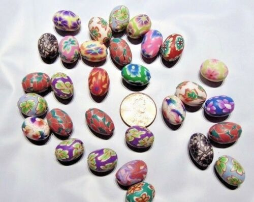 120 Beads Mix Multicolored Flower Design Polymer Clay ~ Oval Easter Egg 15x10mm