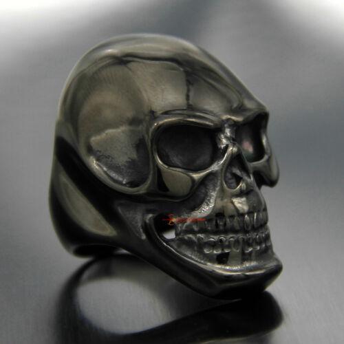 Men/'s Rocker Biker skull ring énorme NOIR GOTHIQUE Ghost Rider Acier Inoxydable 316 L