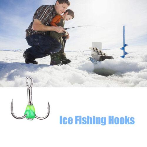 Bait 6# 8# 10# Ice Fishing Hooks Tackle Tools Carbon Steel Three-jaw Hook