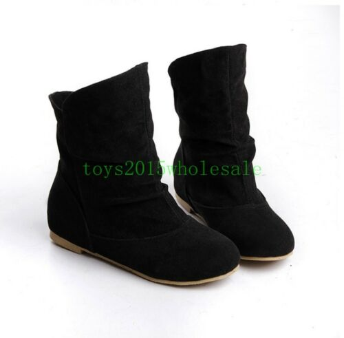 Hot Women Lady Flat Heel Round Toe Suede Slouch Ankle Boots Pull On Casual Shoes