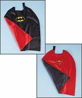 "Reversible Superman/batman Super Hero Cape One Size Red/black Costume 28""x29"""