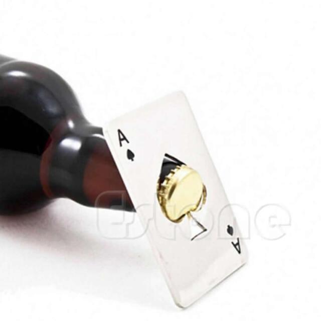 Men's Gift Playing Card Ace of Spades Poker Bar Tool Bottle Soda Beer Cap Opener