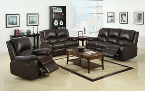2 pc Rustic Dark Brown Sofa Loveseat Transitional Leatherette Plush cushion Sofa