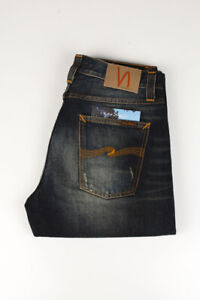 32381 Nudie Jeans Big Bengt Dirt Second Hand Bleu Hommes Jean Taille 32/32