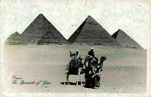 Egypt-Cairo-The-Pyramids-of-Giza-Camels-Postcard