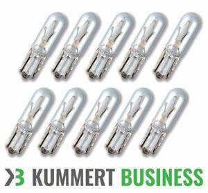 10x-12V-1-2W-T5-W2x4-6d-Gluehlampen-Glassockel-Stecksockel-Armaturenbrett-Birne