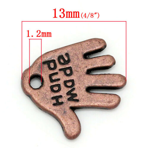50 Or 100PCs Hand Made 12mm Antiqued Copper Jewelry Tags Charms C0691-20