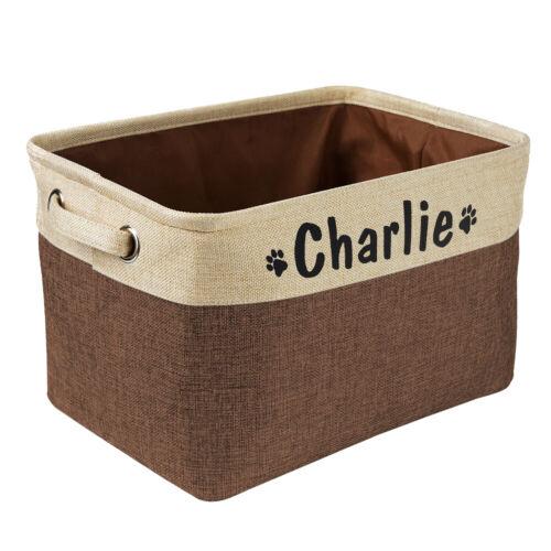 Jute Dog Toys Storage Basket Bin Personalised Pet Name Canvas Clothes Store Box