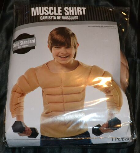 L Muscle Shirt Workout Gym Full Halloween Costume Fits Kids Size 8-9-10 Boys