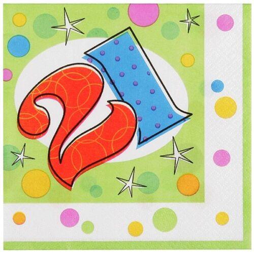 Pack de 16 21 Ans Anniversaire Glee 21st Anniversaire Serviettes//serviettes-NEUF