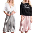 Women's Finely Pleated Satin Metallic Midi Skirt Rose Gold Silver Blogger Style