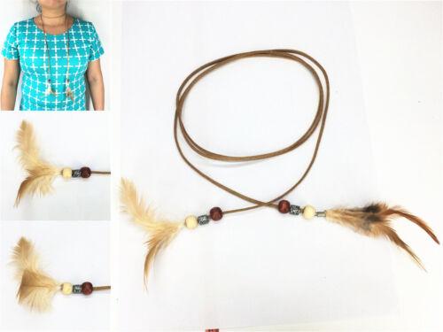 Halsband Wickelband Kropfband Choker Halskette mit Federn Anhänger