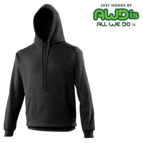 AWDis HEAVY PLAIN Hooded Sweatshirt Hoodie Jumper • Pouch Pocket • 40 COLOURS