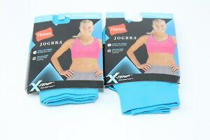 Hanes JogBra X-Temp Racerback Sports Bra Small 2 Pack workout gym Yoga Black