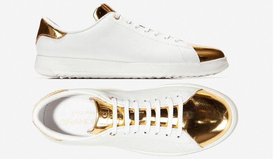 Damens WEISS Gold Leder Sneakers Cole Haan Grand Crosscourt Schuhes NEU